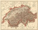 SUISSE Schweiz Switzerland physical. Lakes rivers mountains railways, 1880 map